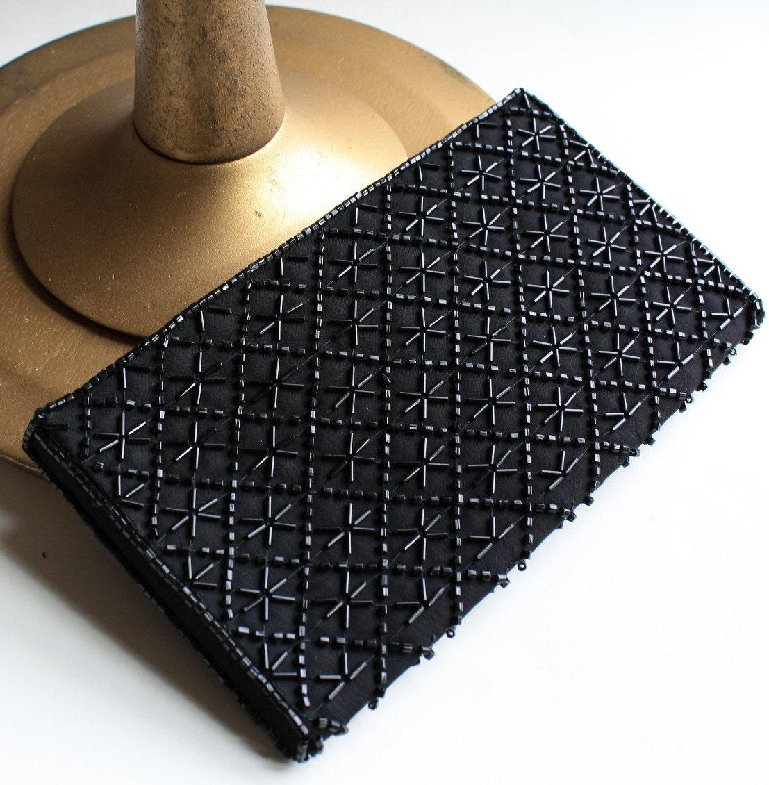 black beaded clutch. vintage La Regale lack beaded