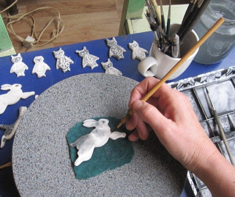 Handpainted Delft Brooch - Owl