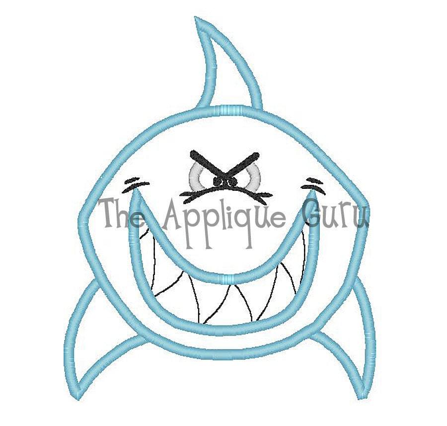 Shark applique machine embroidery design by appliqueguru