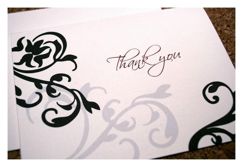 Modern Damask Coordinating Wedding Thank You Notes - SparetireDesign