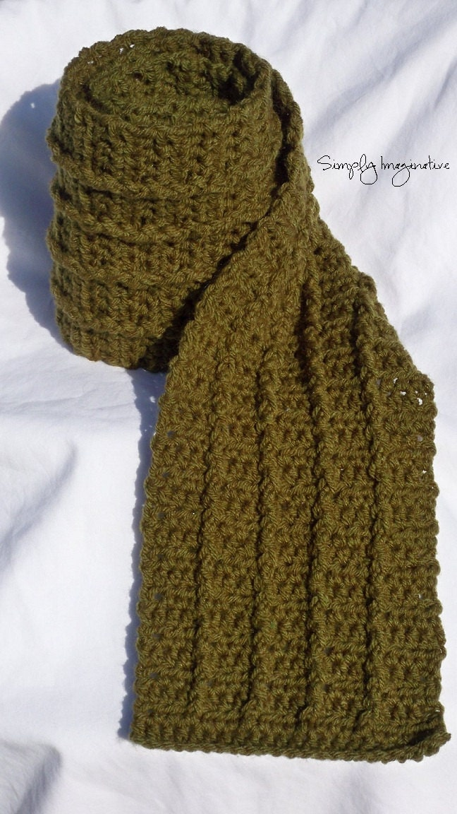 Crochet Mens Scarf with Cable by SimplyImaginative on Etsy Crochet Scarves For Men