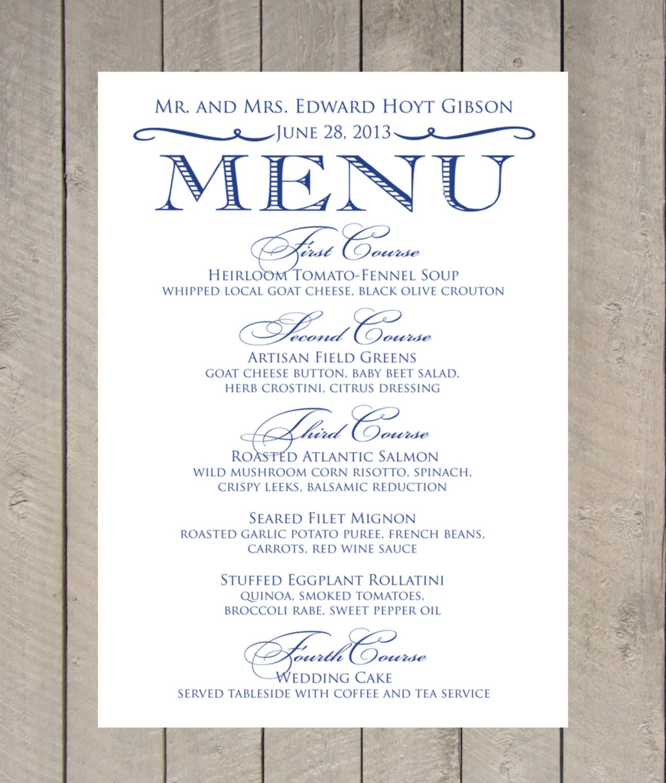 Items Similar To Vintage Menu Card DIY Printable Wedding On Etsy