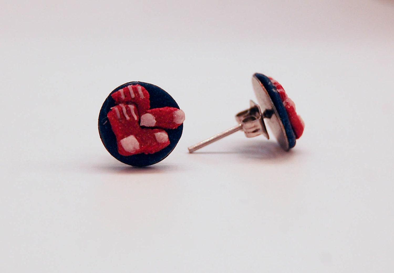 Red Sox pride earrings
