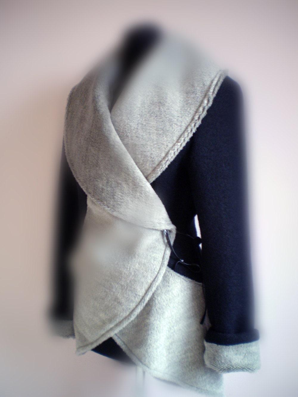 Wool jacket/coat-black and gray