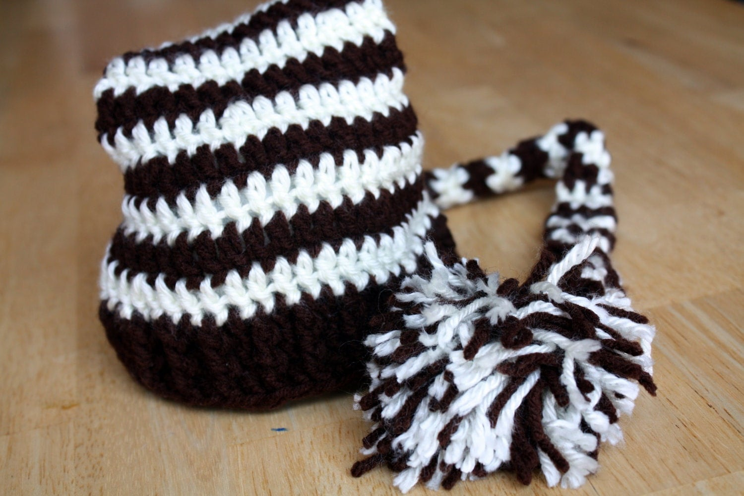 Long Tailed Striped Elfin Hat - Newborn Size in Brown and Ivory