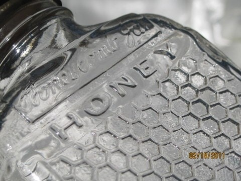 Vintage Lake Shore Honey Serving Bottle, Embossed Honey Comb pattern