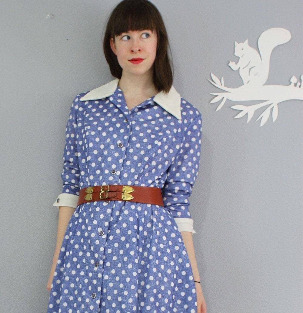 vintage 1970's POLKA DOT collar dress