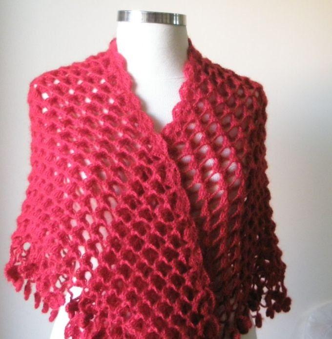Double Crochet Triangle Shawl Pattern : Shawl Handmade Red SHAWL Triangle Crochet Wrap by filofashion