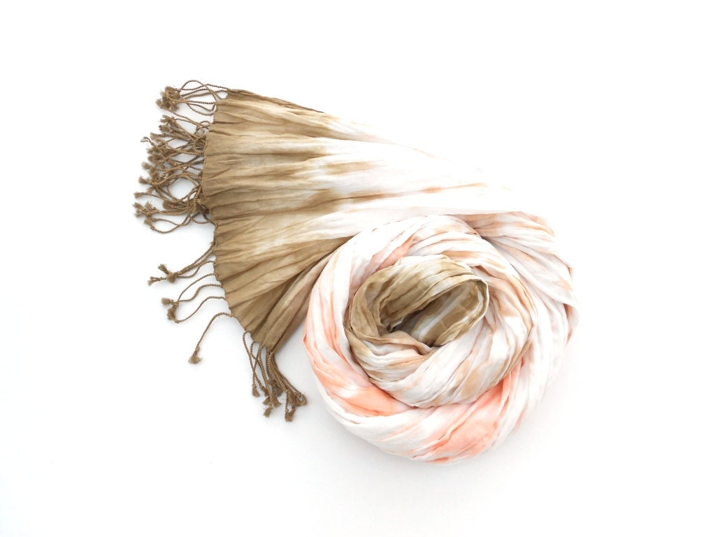 Coral and Brown Cotton Crinkle Scarf hand dyed Fall colors - Schalrausch