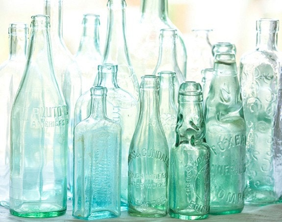 antique bottles no. 3... sunlight through blue green glass by leaping gazelle