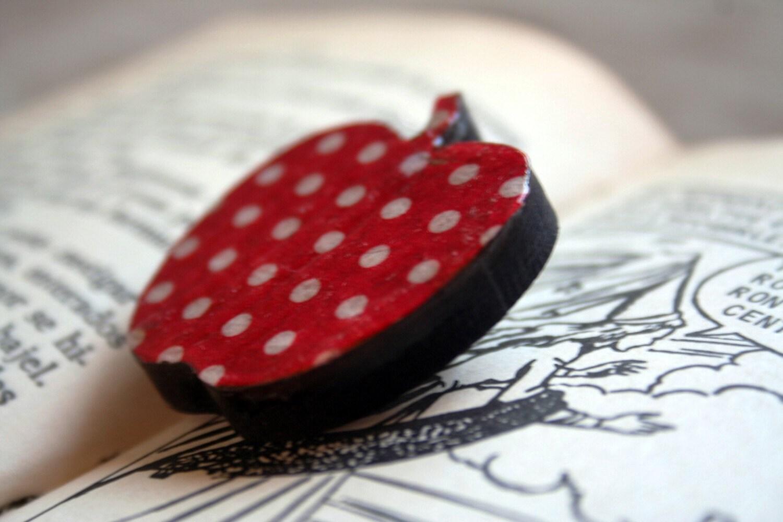 Polka dot apple wooden brooch