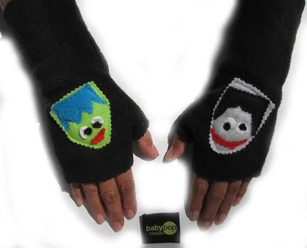 Moster Mash    Black Adult  Fingerless Gloves