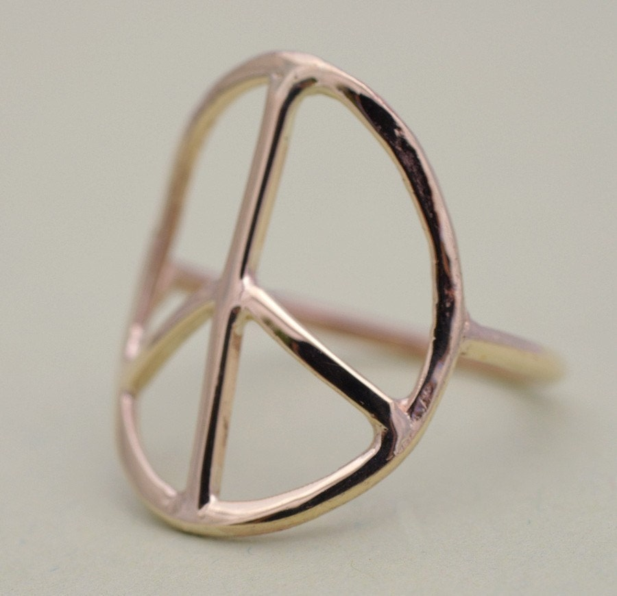 14K Gold  Peace Sign Ring by Tulajewelry on Etsy from etsy.com
