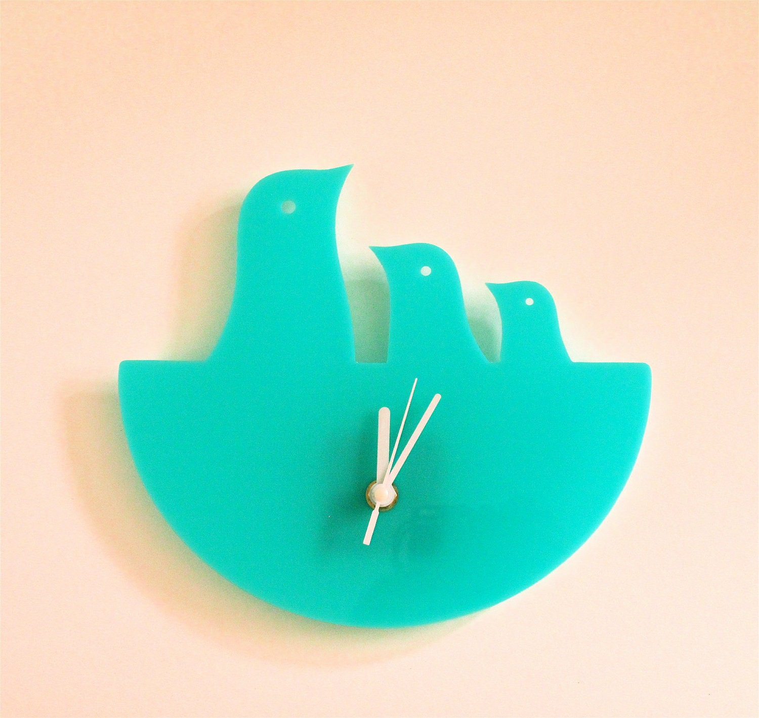 Mint Green Bird Nest Hanging Clock
