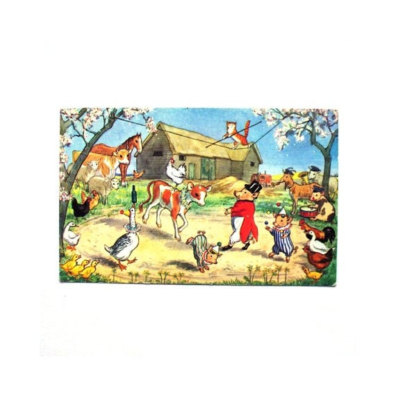 Rare Vintage Molly Brett 1970s Postcard Pk 301 The Farmyard Circus Greeting Card Picture Gift Farm Animal Pig Nursery Decor Clown Ringmaster