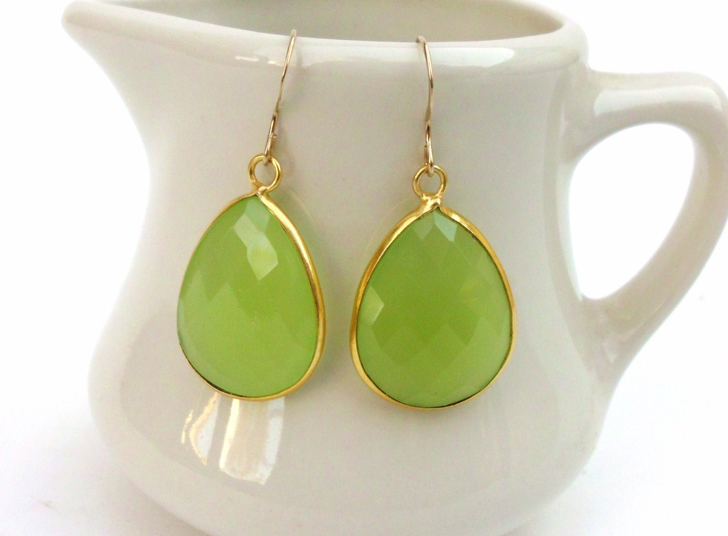 Gorgeous Lime Green Chalcedony and Gold Vermeil Earrings - BeadlieveJewelry