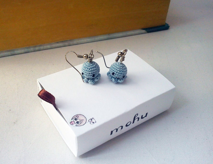 Kawaii octopus earrings in soft powder blue