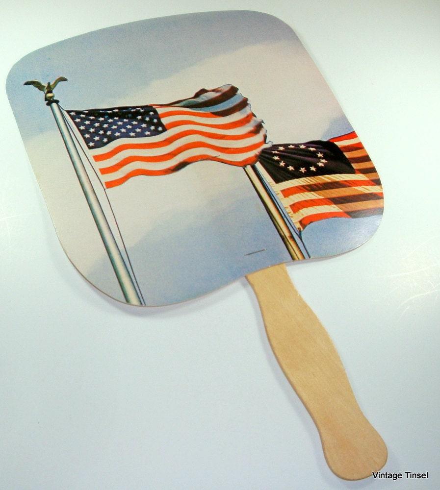 vintage hand held fan americana wood handle by. Black Bedroom Furniture Sets. Home Design Ideas