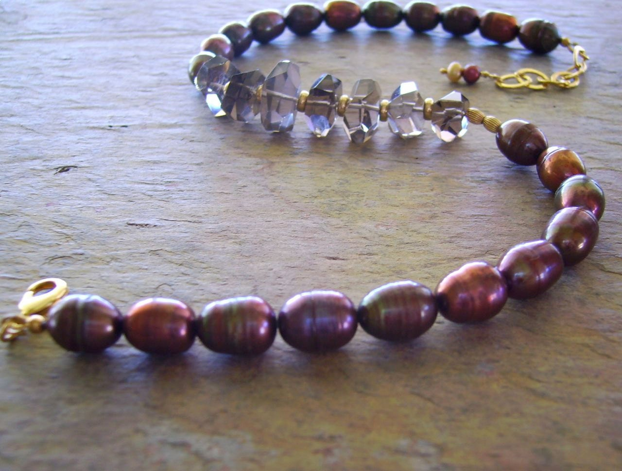 Smokey Quartz Nuggets Necklace .. Iridescent Baroque Pearls .. Dark Cherry .. 14K Gold Fill .. Natural Gems .. Summer NIghts ..