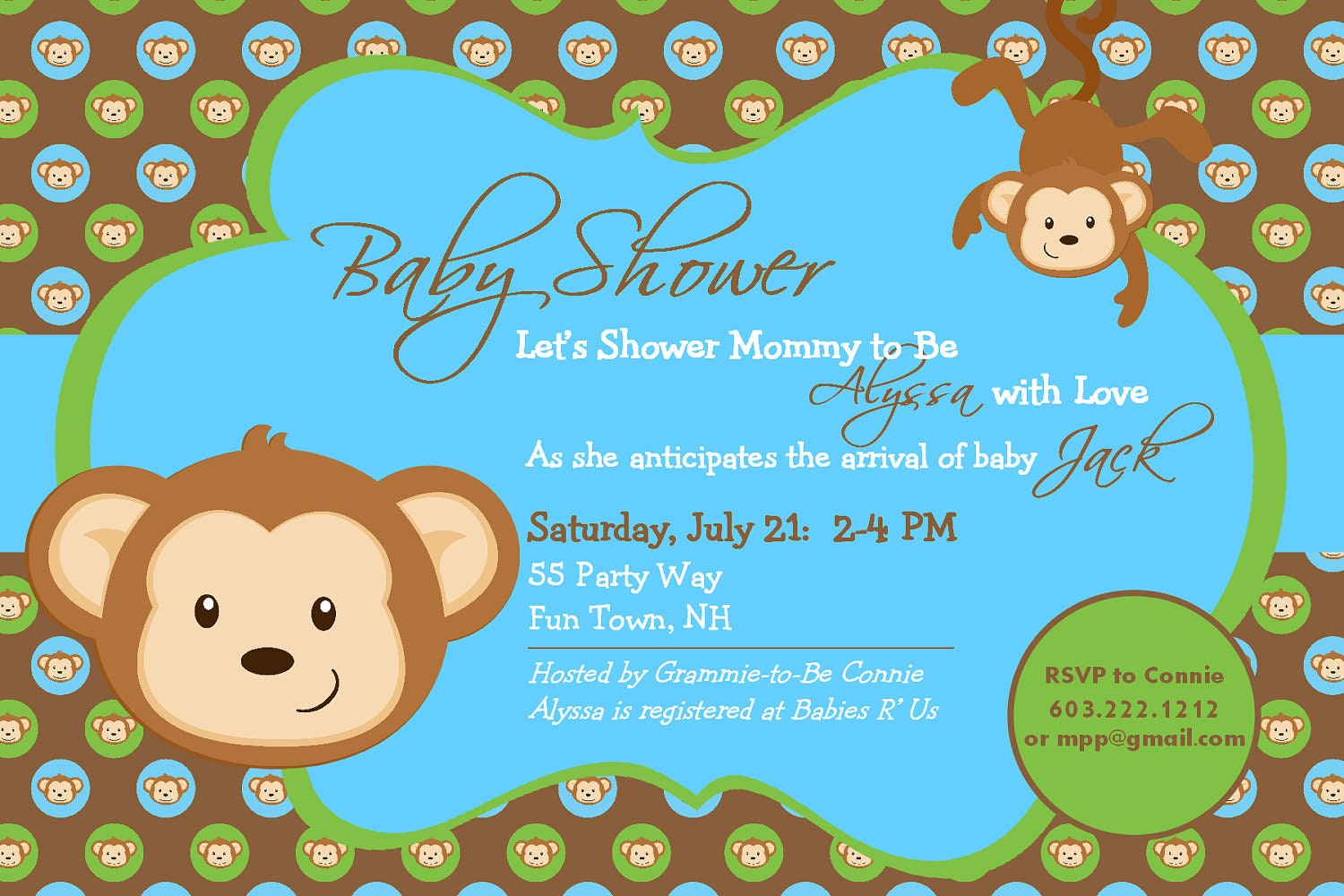 baby shower invitation monkey printable by asyouwishcreations4u