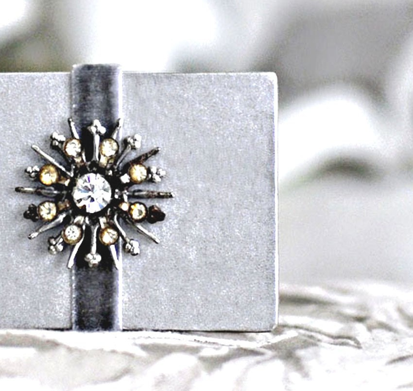 Tiny Snowflake IV Mini Blank book Photo album Journal