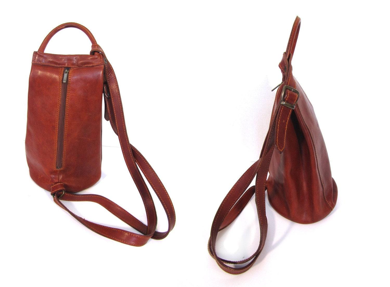 Vintage i medici Sedona Red Italian Leather Distressed Boho Chic Backpack