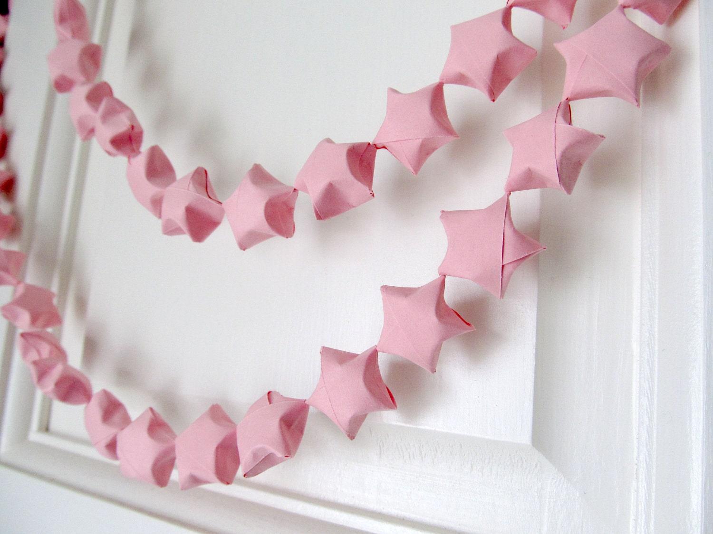 Pink Origami Star Garland - CatchSomeRaes
