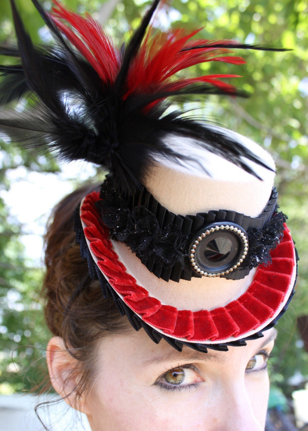 TODDIE TOPPER - Cream Mini Top Hat w/ Red Velvet Trim and Box Pleated Sparkle Trim, Red and Black Feathers Topped with Vintage Button