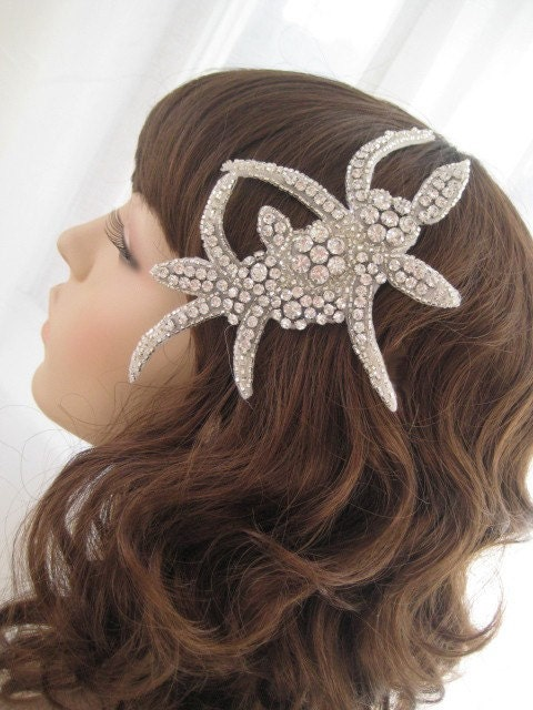 ARIANE Swarovski Bridal Headband or Hair Clip by bellesandcrystals from etsy.com