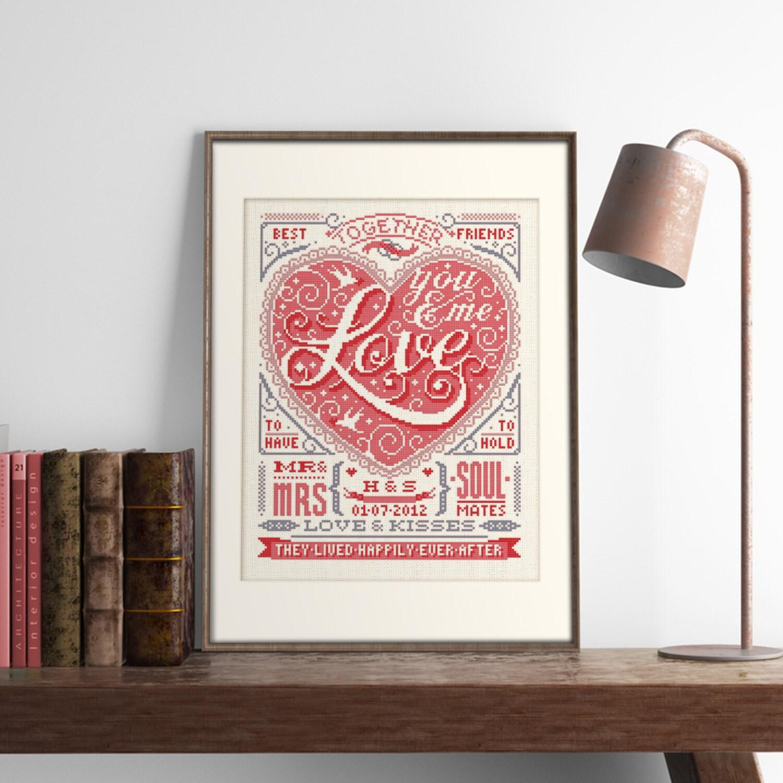 Wedding Love  Customisable Wedding Cross Stitch Pattern (Digital Format  PDF)