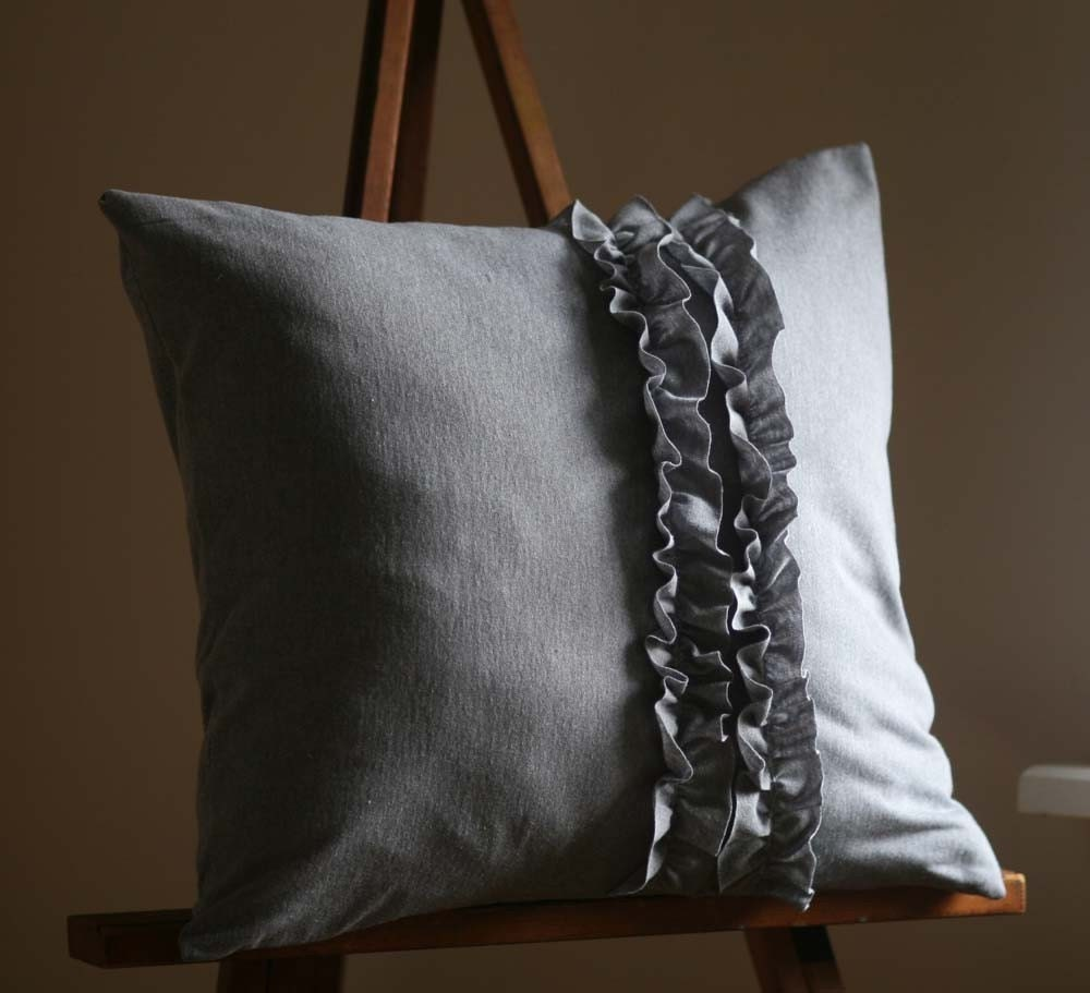 Heather Grey Ruffle Pillow