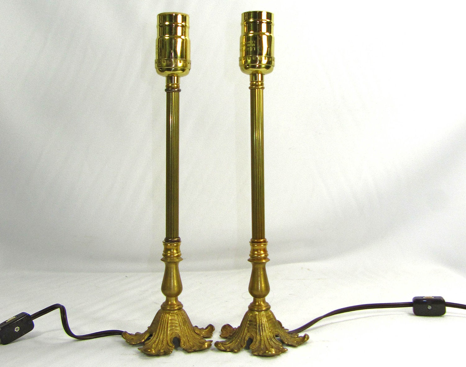 Vanity Lights Stick On : Table Lamps Pair Of Stick Vanity Solid Brass Custom by JudisLamps