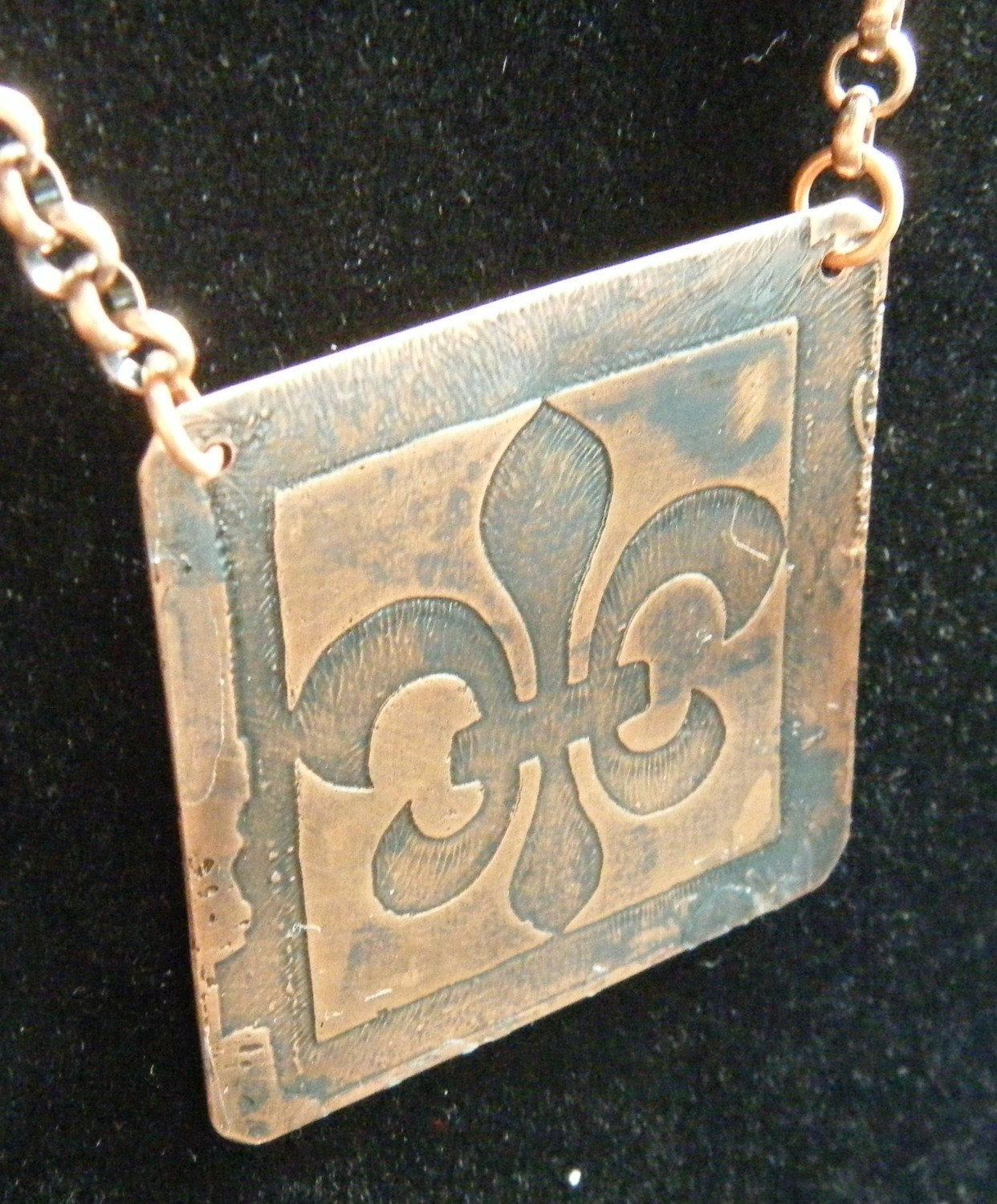 Valentines Day SALE Fluer de Lis Etched Pendant with Copper Chain