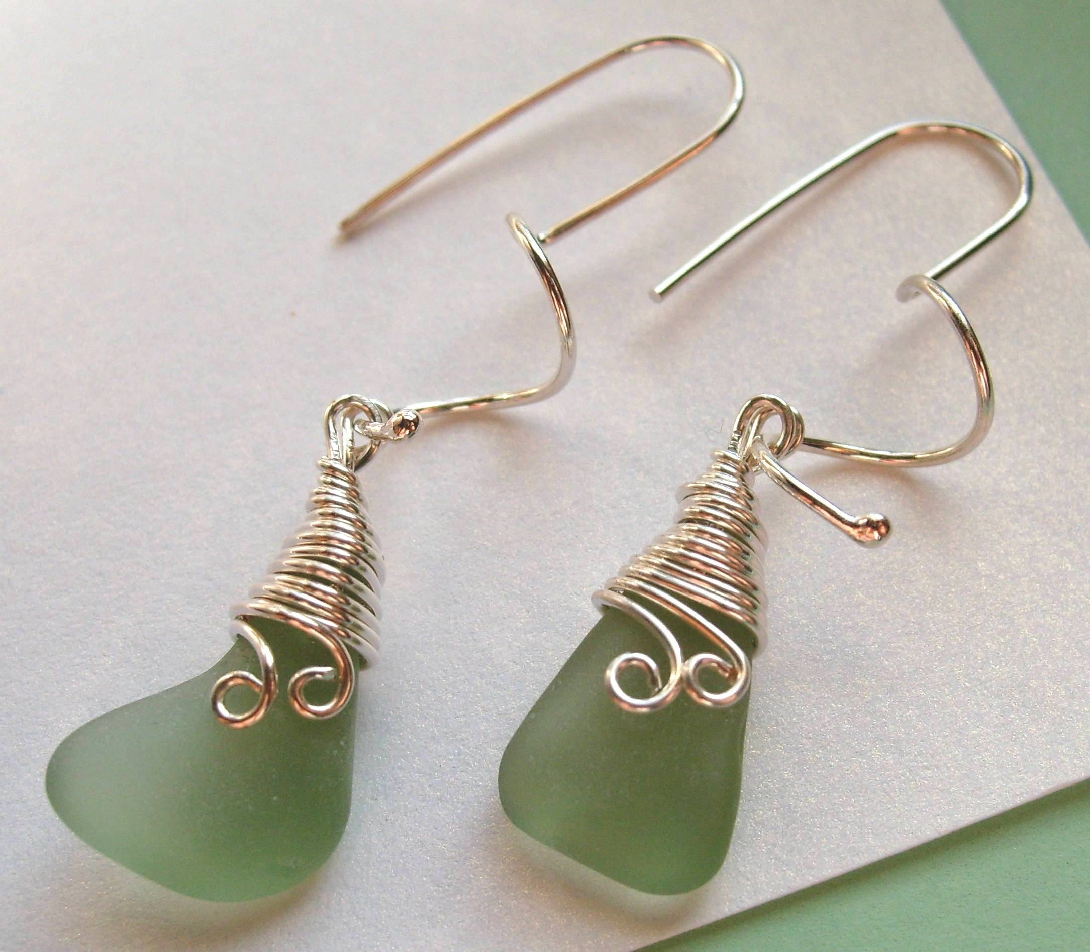 FORREST FERN Genuine Sea Glass Earrings by Lake Erie Beach Glass Lebg