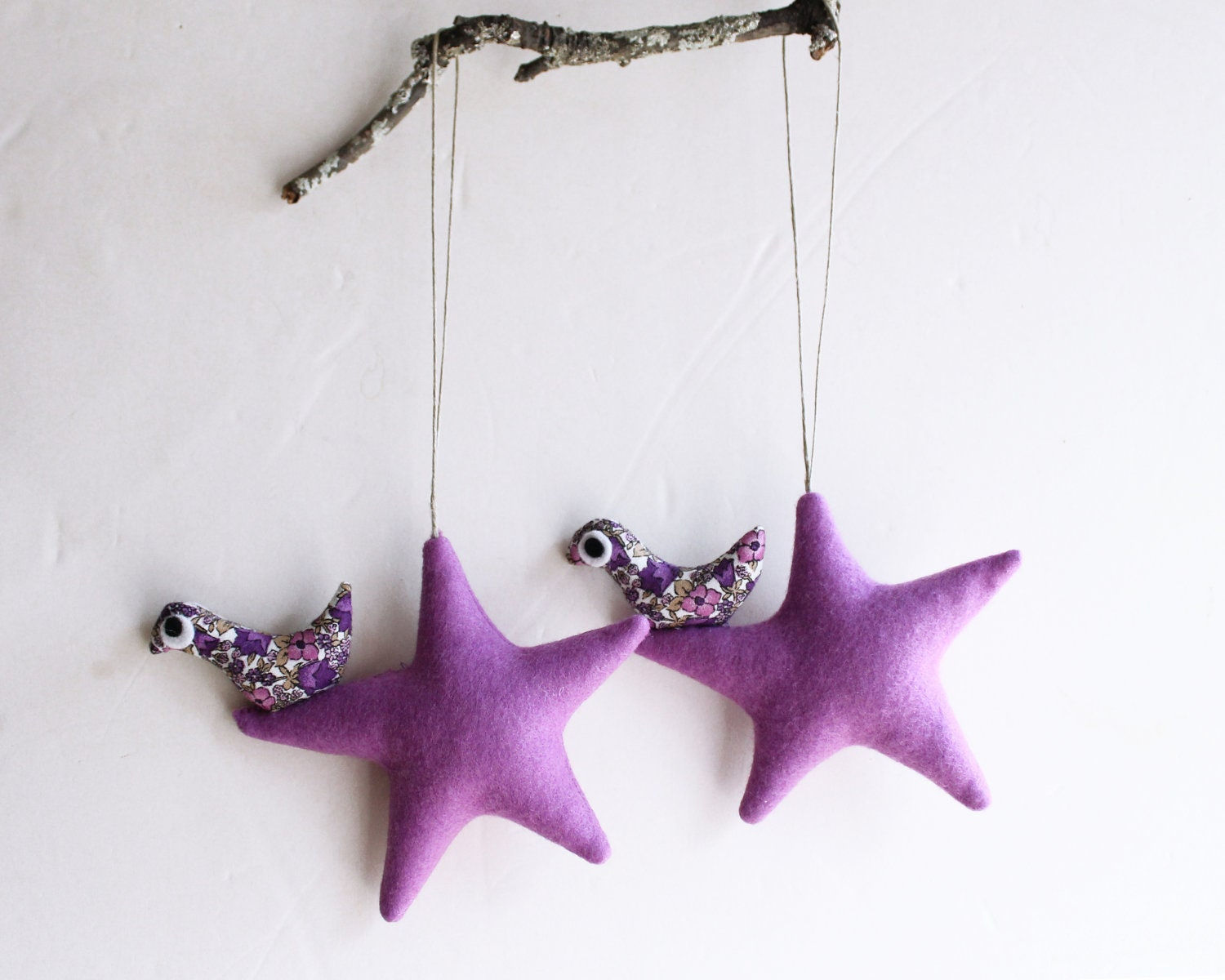 Two lilac stars with bird. Felt Decoration wall hanging. Home Decor - Intres