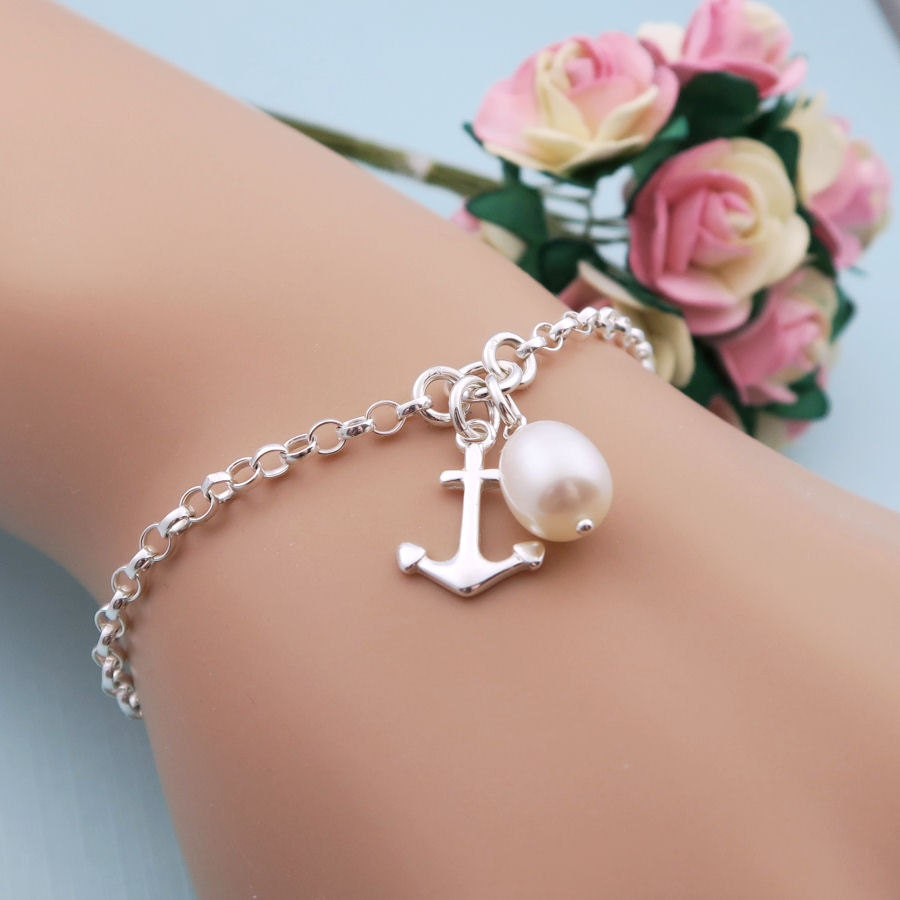 Silver Anchor Bracelet With Freshwater Pearl Bridesmaids Bracelet Bridesmaid Gift Sterling Silver Anchor Jewelry Nautical Anchor