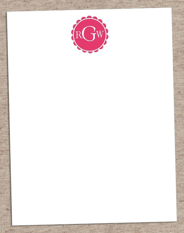Scalloped Monogram Custom Stationery - Set of 12 Flat Personalized Notecards - Girly, Simple, and Chic - Eco Friendly Recycled Paper