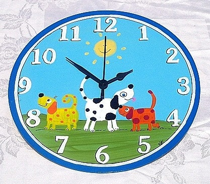 Round Wall Clock With Dogs Painting by TammnoonyKids on Etsy