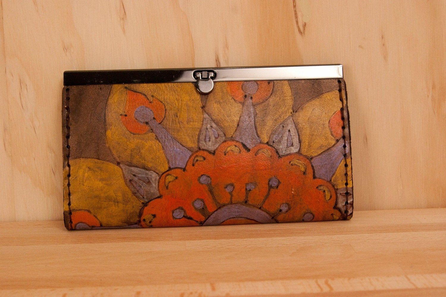 Leather Clutch Wallet - Alice pattern in orange, yellow, purple, white and antique black