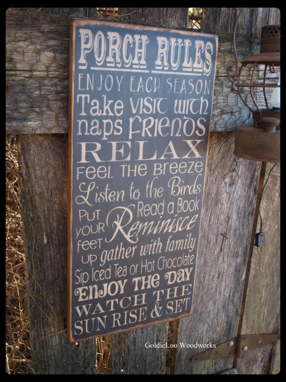 Primitive, Folk Art , Porch Rules Wall Sign