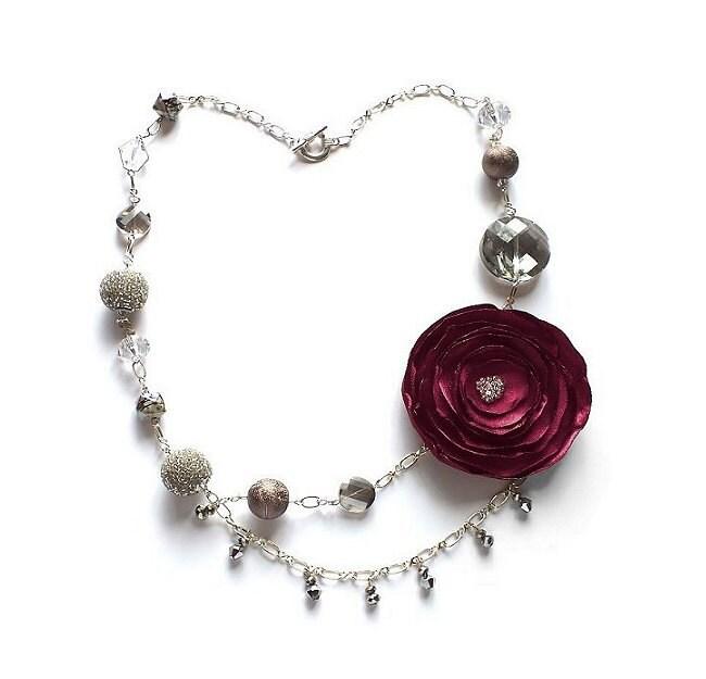 burgundy statement flower fabric necklace by goodluckwishes4u