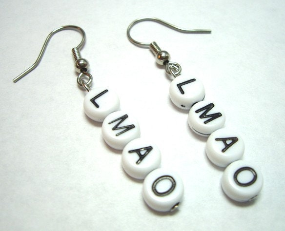 Etsy :: dvrdown :: LMAO Alphabet Bead Earrings Gamer Girl Geeks