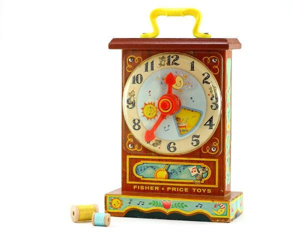 Vintage Fisher-Price Music Box Teaching Clock