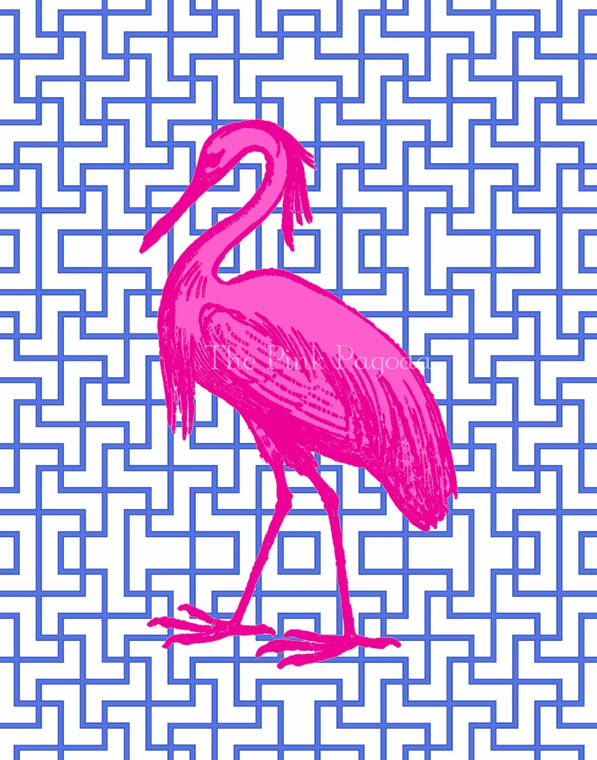 Hot Pink Egret on Navy Facing Left 8x10 Giclee - thepinkpagoda