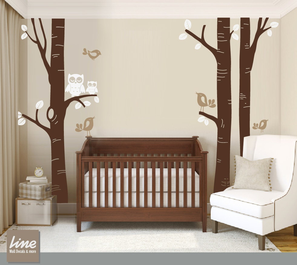 Birch tree decal nursery children wall decal wall by - Stickers chambre bebe arbre ...