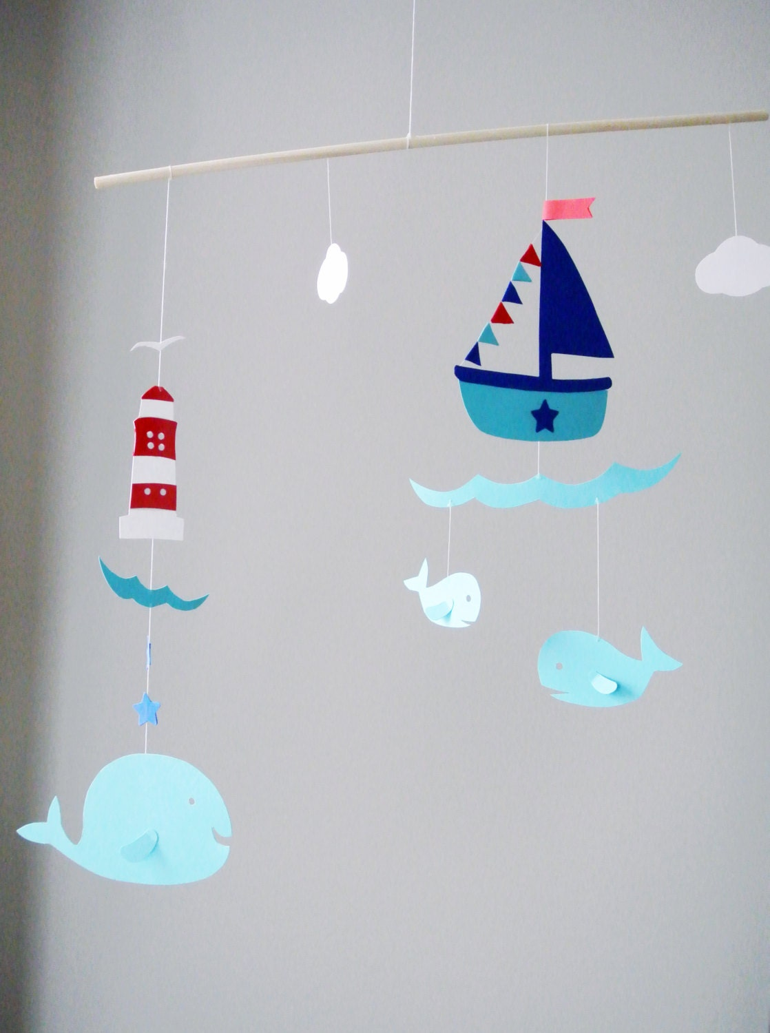 Items similar to 3d paper ship and whale baby mobile for 3d baby room design