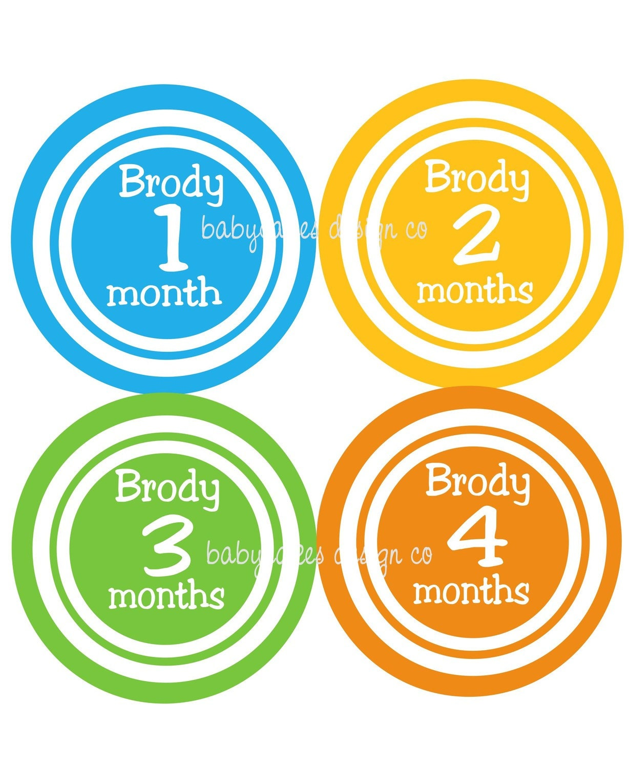 Monthly Onesie Stickers...Brody...Personalized with babies name...Fast Shipping...Waterproof