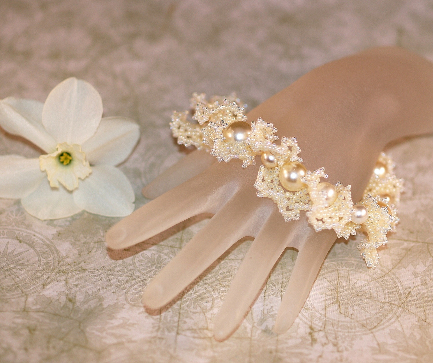 To Have and To Hold - Ruffly Beadwoven Bracelet for a Bride (3205)