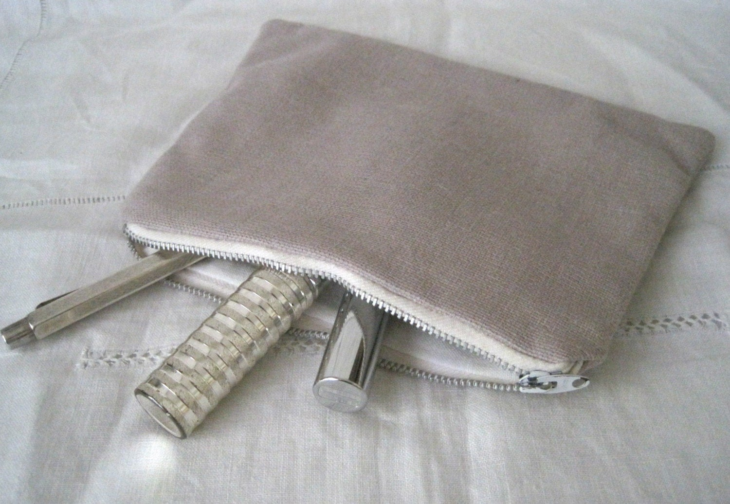 Handmade Recycled Soft Mauve Pouch