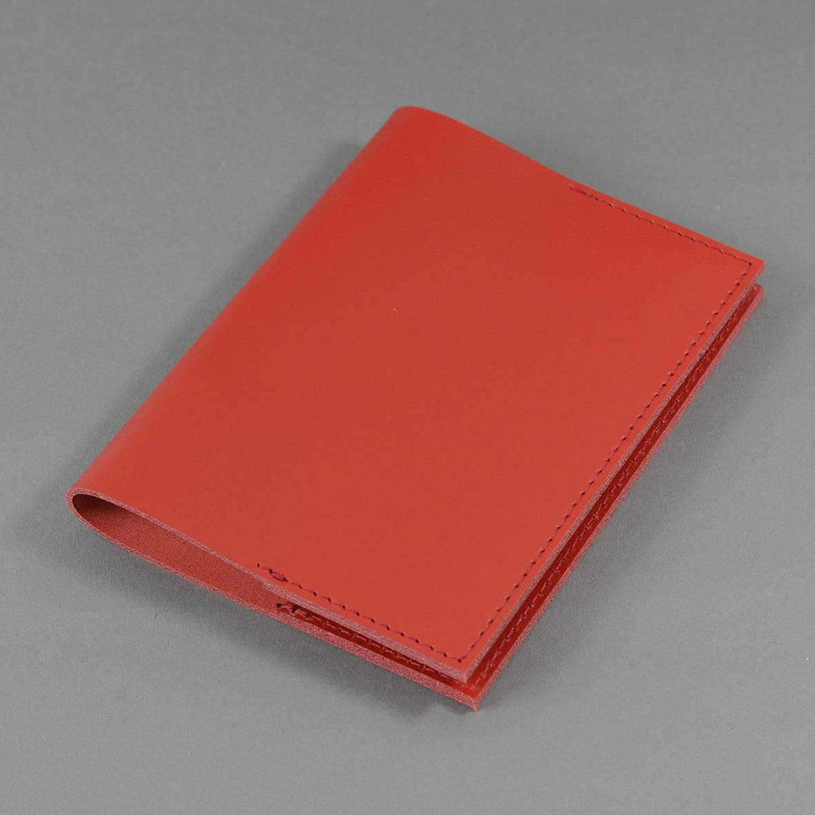 A6 Red Bridle Leather Notebook  Includes Plain Page A6 Notebook